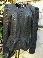OSLEY  Vintage Evening Jacket Black Chevron Print ~Peplum Style Size 40 =UK12