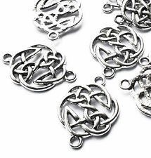 10 x Silver Plated Celtic Knot Charm Connectors, 29mm, Jewellery Craft, Pagan