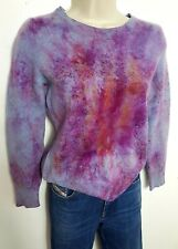 M&S 100% PURE CASHMERE JUMPER SWEATER S UK 8 PINK BLUE HAND DYED  #011