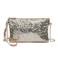 Women Bling Sequins Evening Clutch Purse Hand Bags Cross Body Chain Shoulder Bag Light Golden