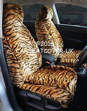TIGER LUXURY FAKE FUR CAR SEAT COVERS - FRONT PAIR- UNIVERSAL FIT