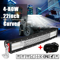 22INCH 4ROW 1200W CREE CURVED LED LIGHT BAR SPOT FLOOD COMBO DRIVING SUV 4WD 20""