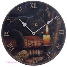 Wanduhr Bilderuhr Uhr Bild Hexenstunde schwarze Katze mit Zauberbuch und Kerze