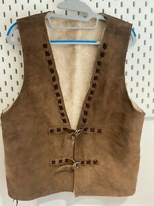 Vintage Womens Gilet Medium Leather Distressed Warm Brown with Faux Fur lining