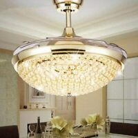 "42"" Crystal Ceiling Fan Light Retractable Blades Remote LED Chandelier Fan"
