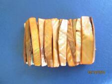 VINTAGE 80's ORANGE ABALONE SHELL ELASTIC STRETCHED BRACELET