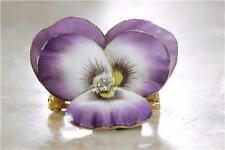 VINTAGE 14K GOLD PANSY FLOWER ENAMEL PENDANT PIN CHARM DIAMOND 14KARAT