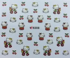 Nail Art 3D Decal Stickers Hello Kitty Cherries Tricycle K008