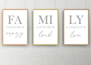 SET OF 3 A4 HOME PRINTS. Wall Art Poster Picture Together Love Family Home Grey