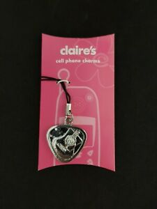 New Claire's Cell Phone Charm Cartoon Guitar Silver Shinny