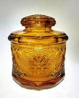 "Vintage Amber Indiana Glass Tiara Sandwich Pattern Jar/Canister W/Lid 5 5/8"" T"
