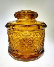 "Vintage Amber Indiana Glass Tiara Sandwich Pattern Jar/Canister W/Lid 5 5/8"" T"