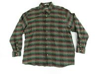 Jhane Barnes Mens Dress Shirt L Green Red Long Sleeve Button Up