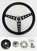 "1965-1969 Ford Mustang Steering Wheel Black on Black 14 1/2"" Ford Center cap"