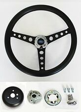 "1965-1969 Ford Mustang Steering Wheel Black on Black 14 1/2"" Ford Center cap"