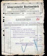 """SCHWARZENBACH (ALLEMAGNE) USINE de MACHINE à POLIR """"RECHNUNG ,Carl FICKERT"""" 1914"""