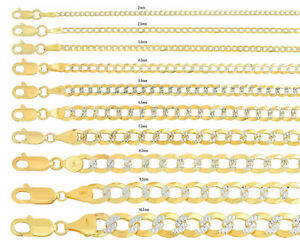 """Solid 10k Yellow Gold Cuban Link Chain Necklace D/cut Pave 2mm-10.5mm Sz 16""""-30"""""""