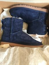Ugg Australia Dixi Flora Perf Suede Navy Blue Boots Size 7 Authentic W/Box NEW