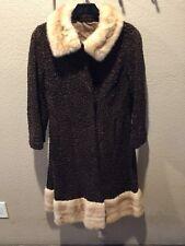 Genuine Persian Lamb Black Fur Coat Jacket Grey Mink Collar Vtge 50s Sze 10-12