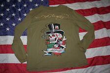 mens Ed Hardy Embellished Long Sleeve Shirt Size Large: tee/bling/casual #4967