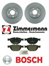BMW 528i 550i 650i 740Li 740i Pair of Front Zimmermann Rotors with Bosch Pads