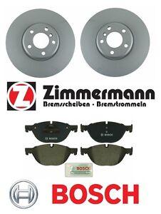 For BMW 528i 550i 650i 740Li Pair of Front Zimmermann Rotors w/ Bosch Pads