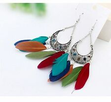 1 Long Bohemian Pair of Feather Tassels Dangle Earrings - Mix Colours # 556