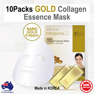 10 DERMAL Gold Moisture COLLAGEN Essence Facial Face Care Mask Sheet Pack Korean