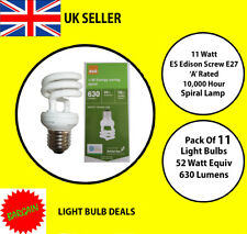 PACK OF 11 X 11 WATT ES LOW ENERGY SPIRAL BULB A RATED 10000 HOUR A RATED NEW