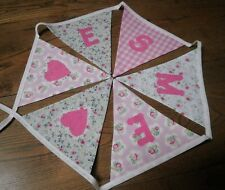 Personalised Name Bunting Girls Pink and Green,  £1.25 PER FLAG