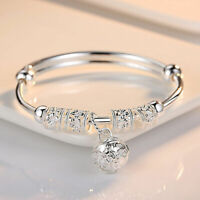 Ladies Women Jewelry 925 Sterling Silver Plated Cuff Bracelet Charms Bangle Gift