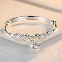 Fashion Women Jewelry 925 Sterling Silver Plated Cuff Charm Bracelet Bangle Gift