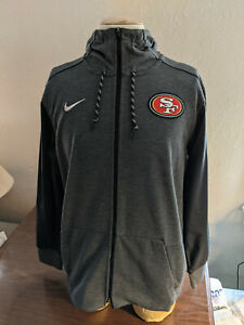 NFL San Francisco 49ers Football Full Zip Hoodie 2 Pocket Gray Nike Size Large