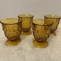 VTG INDIANA AMBER GLASS Whitehall COLONY CUBIST FOOTED 4 TUMBLERS Old Fashioned