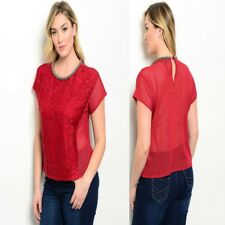 T48 Womens Fashion Red Plus Size 22 Lace Work Office Cocktail Party Blouse Tops