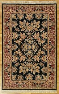 Kazvin Design High Ennd Hand-Tufted Black Wool & Silk Rug 5 x 8 Rug