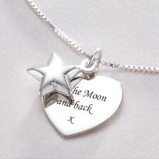 Sterling Silver Star & Heart Pendant Engraved Necklace Jewellery Gift Engraving