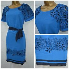 NEW PER UNA M&S SHIFT DRESS CHIFFON BLUE EMBROIDERED FLORAL ABSTRACT 8 - 22