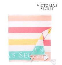 NWT VICTORIA'S SECRET Cute Striped Cotton Beach Towel Blanket Tassel VSF TOWEL