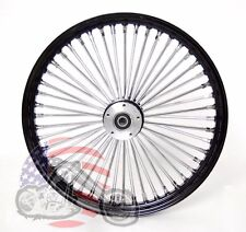 21 x 3.5 48 Fat King Spoke Front Wheel Black Rim Dual Disc Harley Touring Bagger