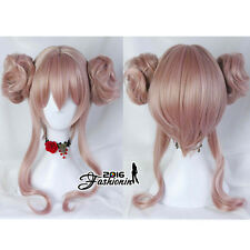 Lolita Anime For Ash Pink Long Wavy Women Party Synthetic Cosplay Wig + 2 Buns