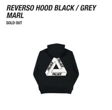Palace Reverso Tri-Ferg Hooded SweatShirt Black Grey Marl Medium *Brand-New*