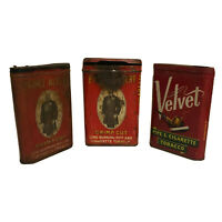 Vintage Lot of 3 Old Smoking Tobacco Pipes & Prince Albert Velvet Tin Cans