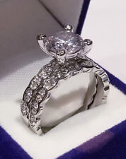 Wedding set White Gold finish Round Solitaire Vintage Style Engagement Ring