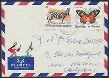 Burundi 1983 WWF stamp ZEBRA Cob 898 + 925 Butterfy used on Airmail cover..A6272