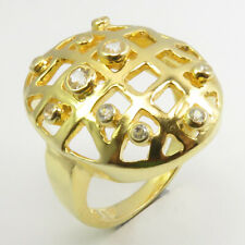 Facetted Cubic Zirconia Ring Size 6 Yellow Gold Plated 925 Sterling Silver