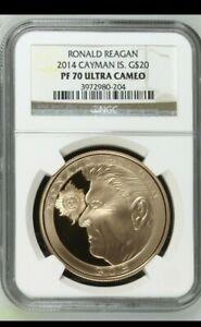 2014- Cayman Islands $20.00 Gold piece NGC Pr-70 Ultra Cameo (Ronald Reagan) Obv