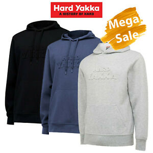 MEGA SALE! Mens Hard Yakka Pull Over Jumper Hoodie Embossed Work Fleece Y19530