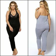 Sexy Plus Size Super Soft Comfy Halter Top Lace Trimming Sleepwear Pyjama Pants