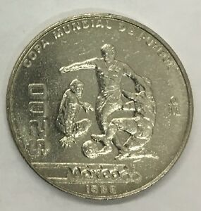 Mexico 1986 $200 Pesos World Soccer Cup Commemorative Coin.